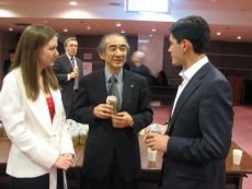 Eishi Ohno (Director & Project General Manager, Environmental Affairs Division of Toyota Motor Corporation), Ksenia Khoruzhnikova (IYDL President, G8 & G20 Alumni Assotiation President) and participant of the G8 Youth summit, co-organized by the International Youth Diplomacy League