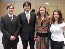 Kohei Nakamura (Japan Foreign Affairs G8 department deputy director), Ksenia Khoruzhnikova (IYDL President, G8 & G20 Alumni Assotiation President ) and participants of G8 Youth summit, co-organized by the International Youth Diplomacy League