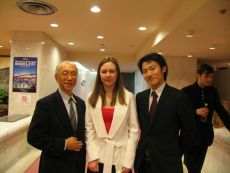 Ksenia Khoruzhnikova (IYDL President, G8 & G20 Alumni Assotiation President), Yuki Vatanabe, head of Japanese Organizing Commitee  and the professor of Keio University at G8 Youth Summit , co-organized by the International Youth Diplomacy League