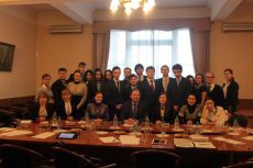 Vadim Lukov, Ambassador-at-Large of the Russian Ministry of Foreign Affairs, Russias sous-sherpa in G8, Russian Ministry of Foreign Affairs Coordinator for G20 and BRIC, Ksenia Khoruzhnikova (IYDL President, G8 & G20 Alumni Assotiation President) and Russian youth delegation after the briefing, organized by the IYDL