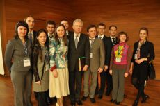 Mario Monti, Prime Minister of Italy, Ksenia Khoruzhnikova (IYDL President, G8 & G20 Alumni Assotiation President) and Russian delegation 2009 at G8 Youth Summit, co-organized by the International Youth Diplomacy League