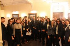 Andrey Bokarev – Director of International Financial Relations Department, Ministry of Finance of the Russian Federation, Ksenia Khoruzhnikova (IYDL President, G8 & G20 Alumni Assotiation President) and youth russian delegation after the briefing, organized by the IYDL
